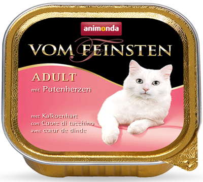 ANIMONDA Vom Feinsten Adult Cat skonis: su kalakuto širdelėmis 100g