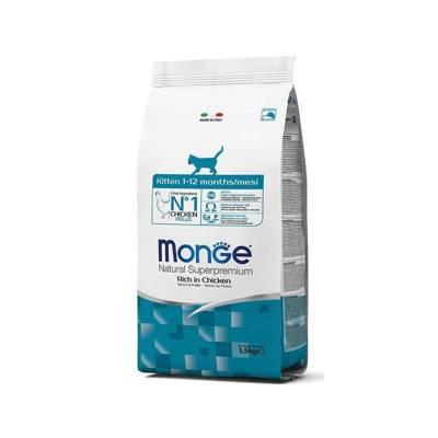 Monge Natural Superpremium visavertis pašaras kačiukams nuo 1 iki 12 mėnesių. Su Šviežia Vištiena 1,5kg