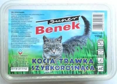SUPER BENEK Greitai auganti žolė katėms 150g plastmasinėje dėžutėje