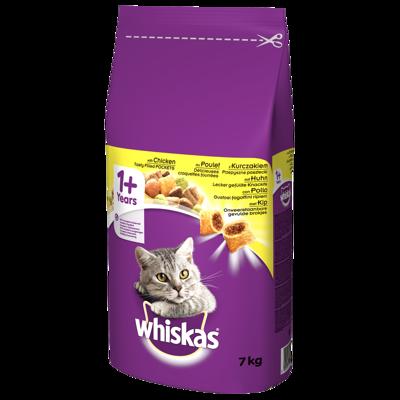 WHISKAS Adult 7kg - sausas kačių ėdalas su vištiena ir daržovėmis + 2x  DREAMIES 15g